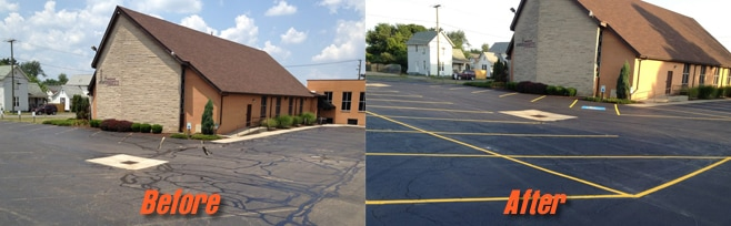 Seal Coat Church Parking Area and Striping